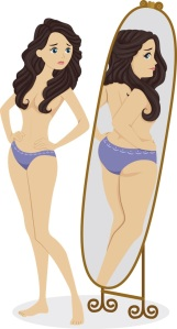 Illustration of a Thin Female Standing in Front of a Mirror and Seeing a Plump Girl in the Reflectio