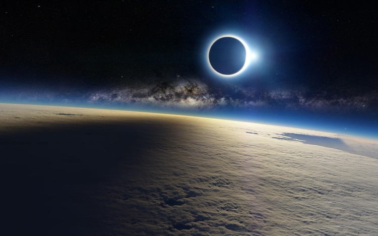 Space-Eclipse-Sun-Light-Moon-Shadow-On-Earth-Cloud-Milky-way-Galaxy-WallpapersByte-com-3840x2400